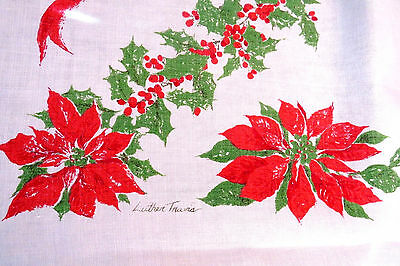 Vintage Christmas Tablecloth by Luther Travis Red Poinsettias Green Holly