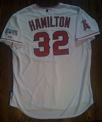 JOSH HAMILTON10/2/2014 Game Used WHITE PLAYOFF Worn JERSEY #32 ANGELS vs. ROYALS