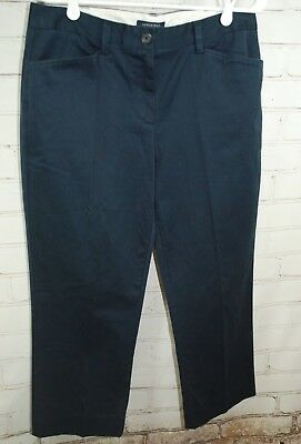 LANDS' END Chino/Twill Dress Crop Pants Womens Fit 2 Size 12 Navy Blue Stretch
