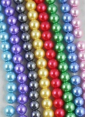 Free Ship 50Pcs Lightful Glass Pearl Round Spacer Beads 8mm Mixed