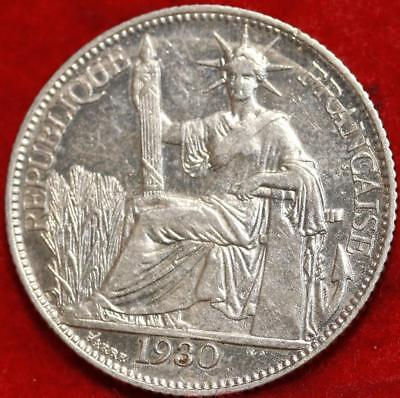 1930 French Indo China 20 Cent Silver Foreign Coin Free S/H