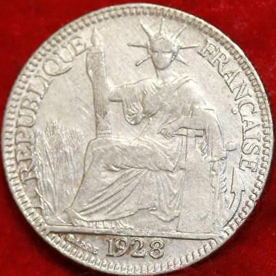1928 French Indo China 20 Cent Silver Foreign Coin Free S/H