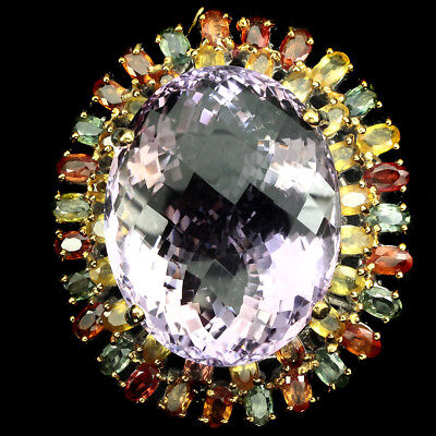 Handmade Real 76 ct Bi-colors Ametrine Fancy Sapphire 925 Silver Brooch Pendant