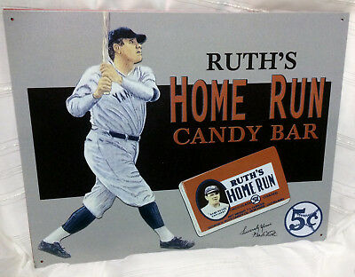 Vintage Babe Ruth Ruth's Home Run Candy Bar Tin Advertising Sign