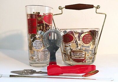 Mid Century Modern Ice Bucket Shaker & Cocktail Tools Red White Gold Recipes