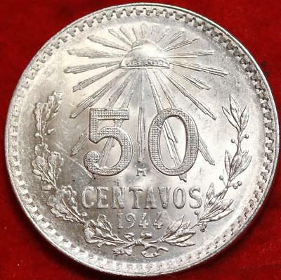 Uncirculated 1944 Mexico 50 Centavos Silver Foreign Coin Free S/H