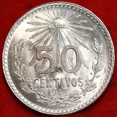 Uncirculated 1943 Mexico 50 Centavos Silver Foreign Coin Free S/H