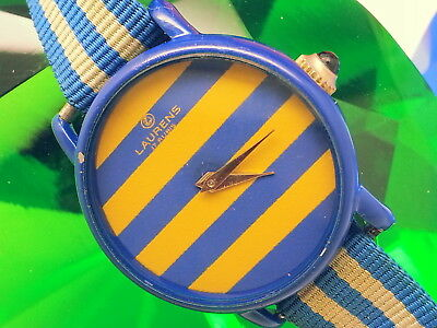 (Special-Rare) 1960 Laurens Cobalt Blue Case Gold/blue Dial Vintage Ladies Watch