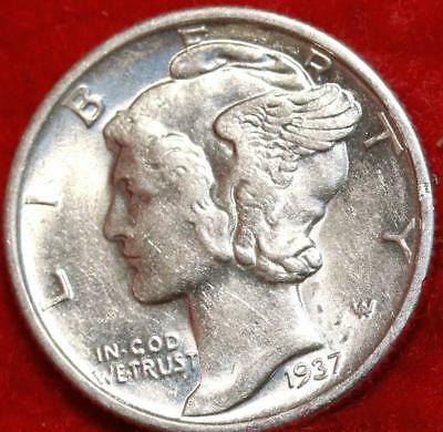 Uncirculated 1937-D Denver Mint Silver Mercury Dime Free Shipping