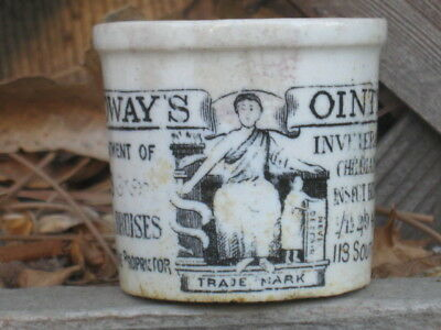 Rare Antique Holloways  pharmacy ointment pot for Cuts, Wounds, Burns & Bruises