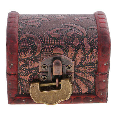 Vintage Metal Lock Jewelry Treasure Chest Case Manual Wooden Box Storage Box