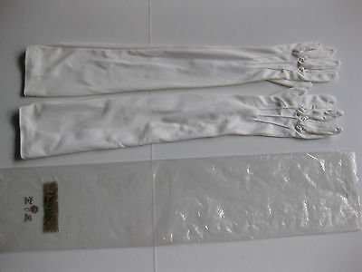 VINTAGE LONG GLOVES by DENTS, White, suit wedding, size 7