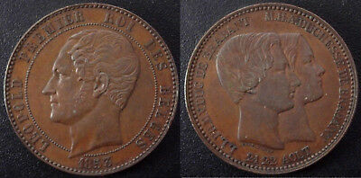 Rare 1853 Belgium Marriage  Large 10 Centimes-Nice