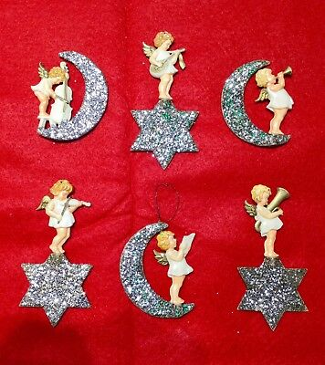 6 Vintage German Celluloid And Glitter Angels  On Moon And Star Ornaments.