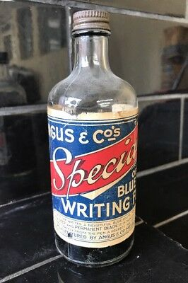 ANGUS & CO's Blue Writing Fluid Collectable Vintage Ink Bottle Made In Melbourne