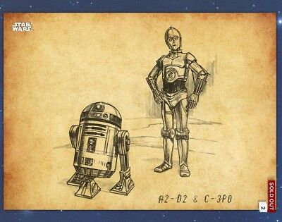 Topps Star Wars Card Trader Graphite Parchment R2-D2 & C-3PO SWCT Digital