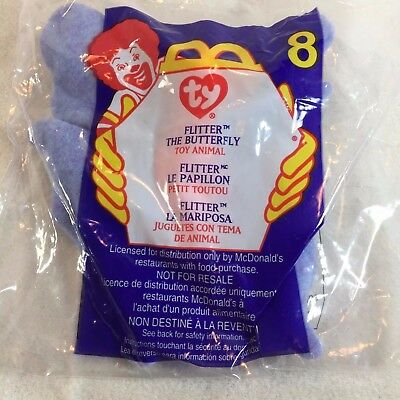 TY Teenie Beanie Baby FLITTER THE BUTTERFLY #8 McDonalds Meal Toys 2000 NEW
