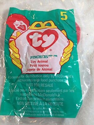 TY Teenie Beanie Baby PINCHERS THE LOBSTER #5 McDonalds Meal Toys 1998 NEW