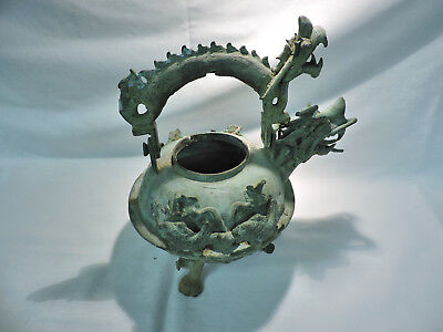Antique Asian Bronze / Brass Dragon & Fish Footed Teapot - Heavy Green Patina