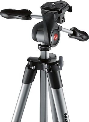 "Manfrotto 65"" Compact Advanced Tripod Stand with 3-Way Head Black MKCOMPACTADV-B"