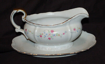 One Edelstein Brighton Scalloped Gravy Bowl with Attached Under Plate Good Shape