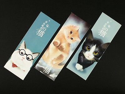 Set of 32 paper bookmarks of illustrations and watercolors of cats #B0024