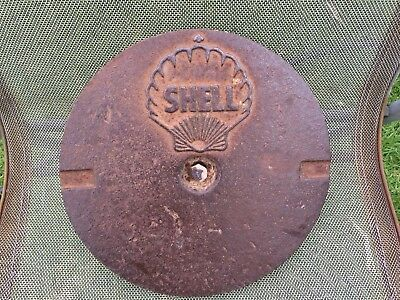 Vintage SHELL Service Station Tank Cover - Shell Clam Logo - Cast Iron - 3.6 Kg