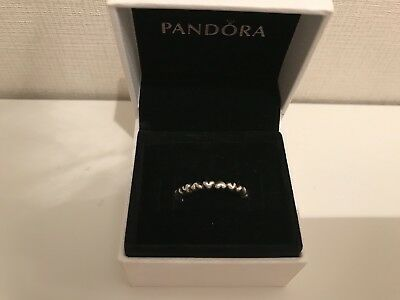 Genuine Pandora 925 Ale Silver Heart Stacking Ring Size 56