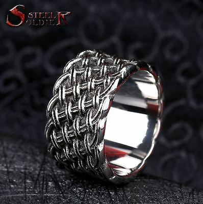 Mens 12mm Wide Woven Steel Design Ring Dress Fashion - MR0016