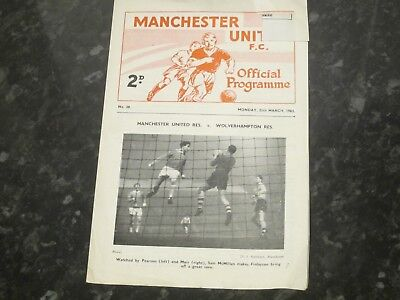 Manchester Utd Res v Manchester City Res Central League - Dated 1962/63