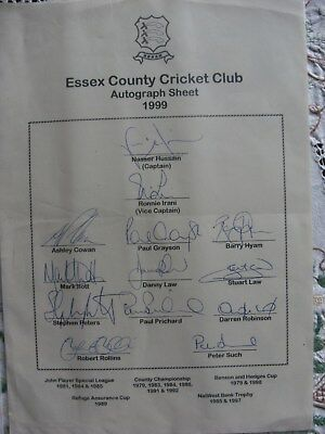 Essex County Cricket Club Autographed Sheet for 1999 Season