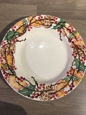 "EMMA BRIDGEWATER HOLLY WREATH 10.5"" DINNER PLATE, 1st QUALITY"