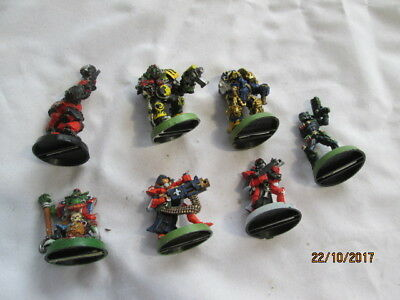 Job Lot Of 7 Painted Metal  Warhammer Figures Some Parts Missing