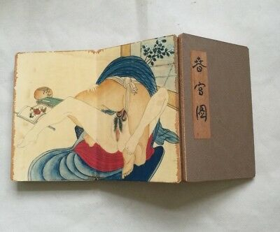 Collectible Shunga hand Drawing Erotic lust Japanese Body Art old book Love