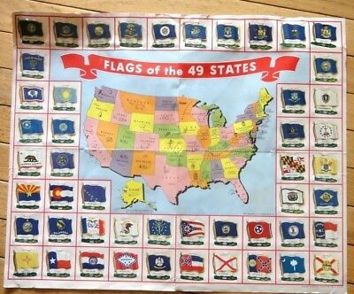 1959 vintage NABISCO THE FLAGS OF THE 49 STATES TIN FLAG COLLECTION w/MAP