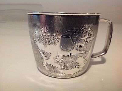 Silver Plated Christening Cup Cow Jumped Over The Moon