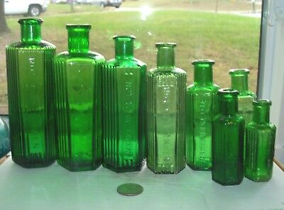 Eight Different Size  Six Sided Ridge Green Poisons Embossed, Not To Be Taken