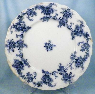 Antique Elsie Flow Blue Dinner Plate New Wharf Pottery As Is Condition