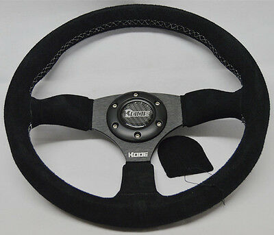 KODE-350mm Half Dish Suede Steering Wheel White Stitch Fits MOMO OMP Boss Kit