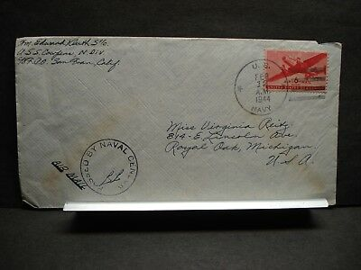 USS COWPENS CVL-25 Naval Cover 1944 Censored WWII Sailor's Mail
