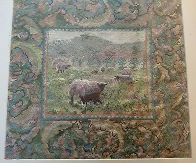Completed Framed Picture Vintage Erhman Tapestry Sheep Needlework farmhouse