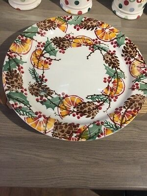 EMMA BRIDGEWATER HOLLY WREATH CAKE PLATE, 1st QUALITY