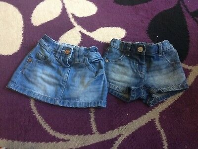 Girls Next Denim Shorts & Skirt 3-6 Months