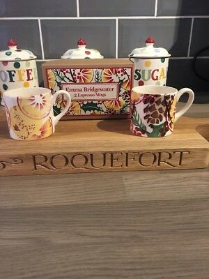 EMMA BRIDGEWATER ESPRESSO MUG SET, HOLLY WREATH, ORANGES, 1st QUALITY