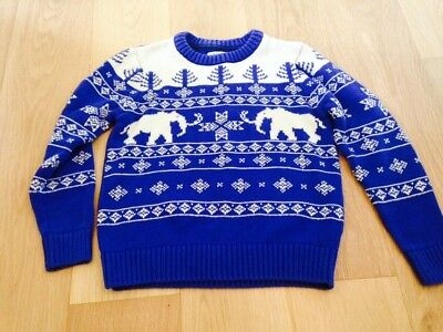 Retro Style Boys M&S Christmas Jumper Size 7 -8 Years