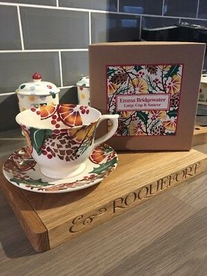 EMMA BRIDGEWATER HOLLY WREATH LARGE CUP & SAUCER, BOXED, 1st QUALITY