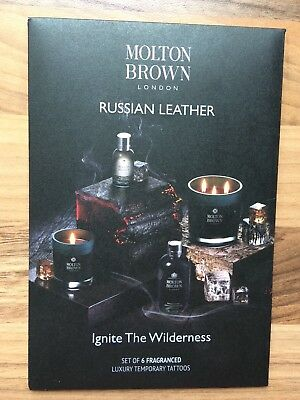 Molton Brown Russian Leather Set of 6 Fragranced Luxury Temporary Tattoos New !!