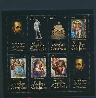 XA82098 Central Africa 2011 Michelangelo Buonarroti art paintings XXL MNH