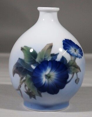 Beautiful Royal Copenhagen Porcelain Vase w/ Morning Glory in Amazing Detail