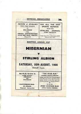 Scottish League Cup:-STIRLING ALBION v HIBERNIAN 20th August 1966